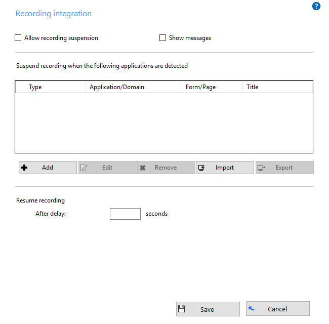 Recording Integration window