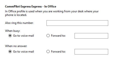 Call settings In Office tab