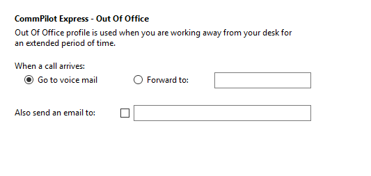 Call settings Out Of Office tab