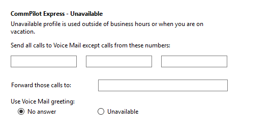 Call settings Unavailable tab