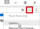 Chrome menu options