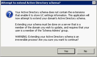 Extend Active Directory schema message window