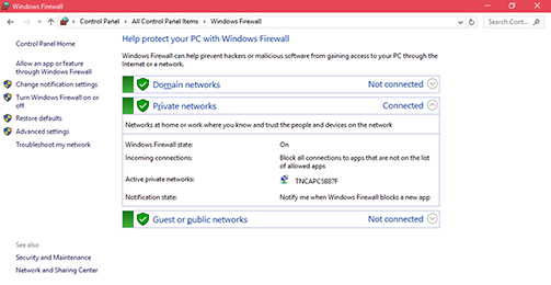 Windows Firewall screen