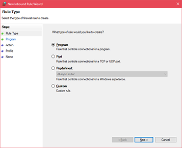 Windows Firewall inbound rules settings
